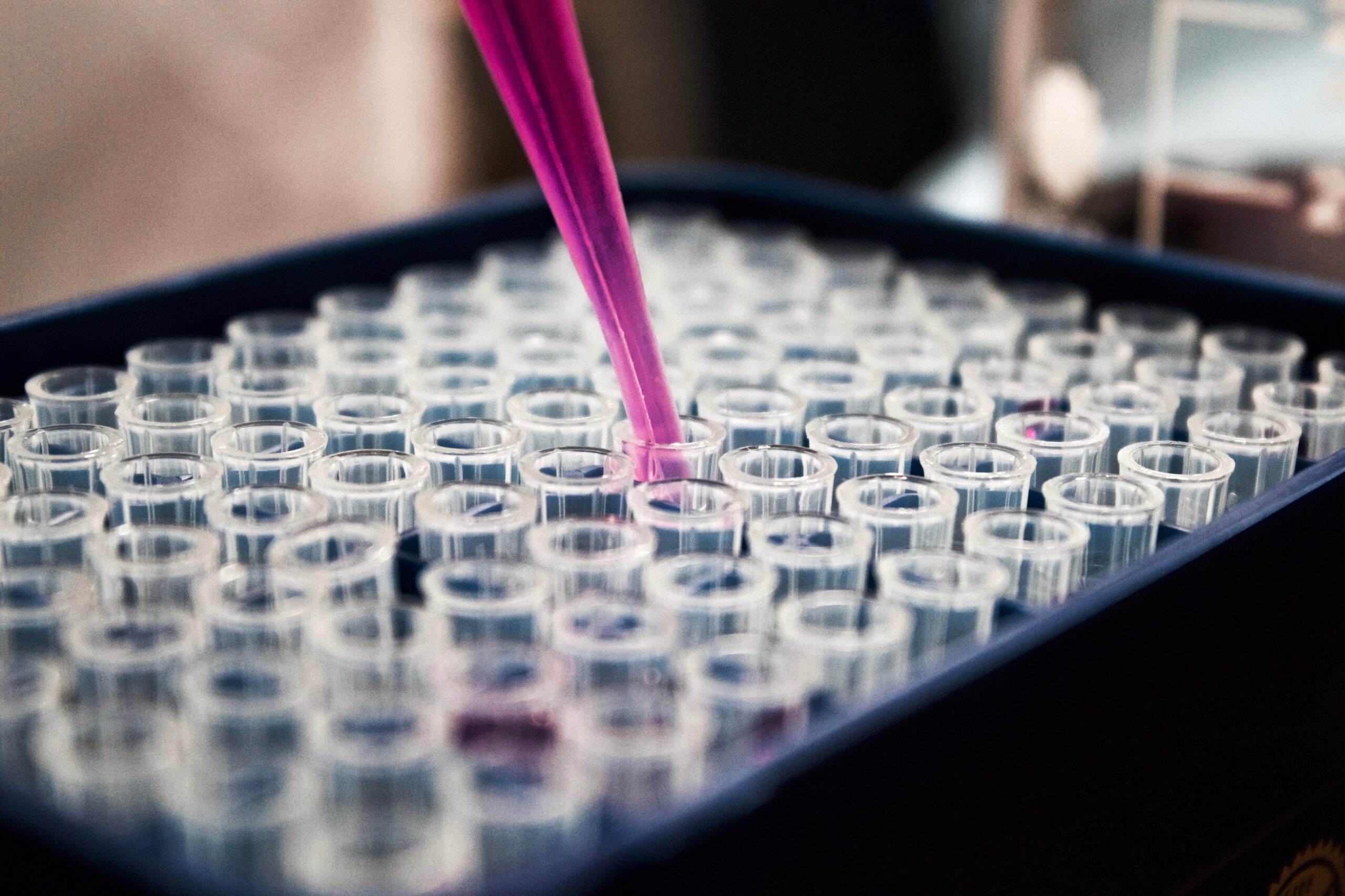 Test tubes being used within a lab